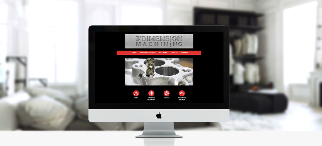 3rd Dimension Machining website screen shot. ZP Creative creates websites for small businesses and organisations.